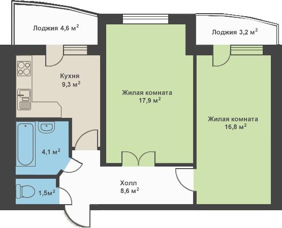 продажа двухкомнатной квартиры номер A-68676 в Киевском районе, фото номер 2